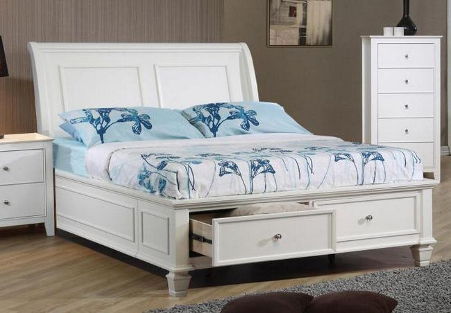 bijeli bračni krevet s ladicama