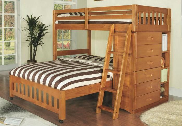 krevet na kat koji je izrađen od čvrstog borova
