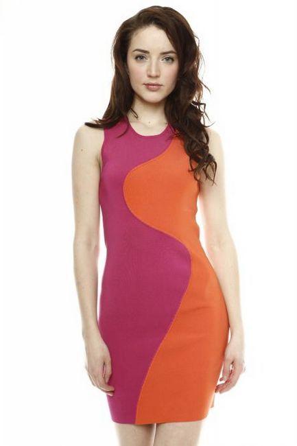 трикотажное двухцветное платье