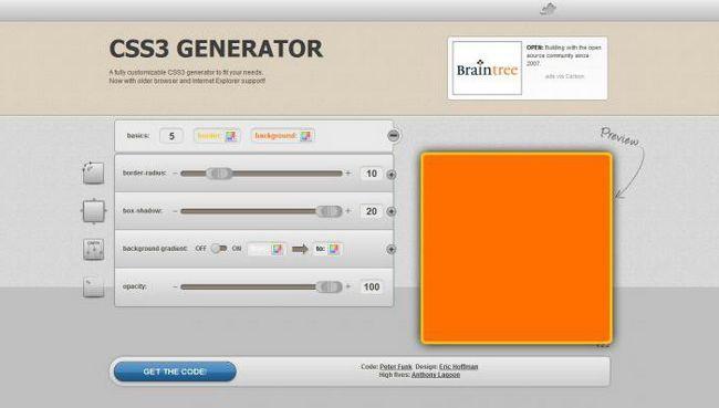 CSS generator sjena