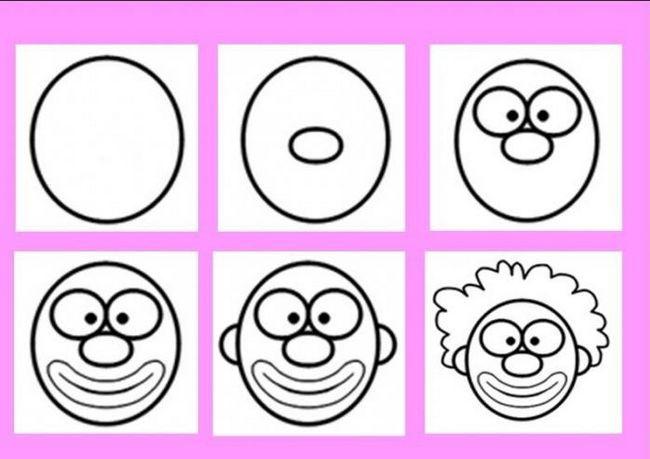 kako nacrtati klaun u fazama