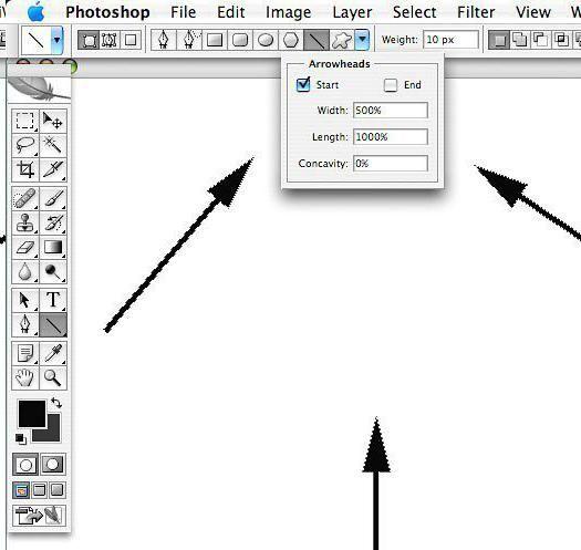 kako nacrtati strelicu u Photoshopu