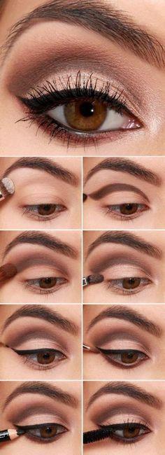 večernji make-up za smeđe oči korak po korak