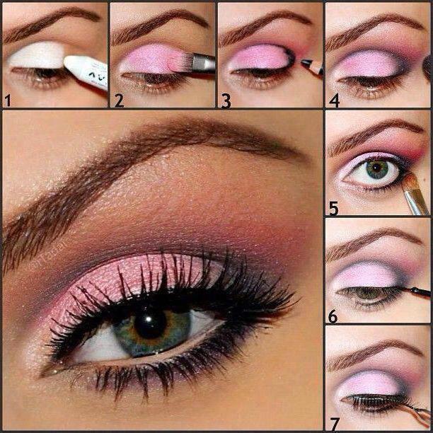 Šminka s fotografijom s ružičastim sjenama