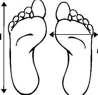 38 veličina cipela na podnožju