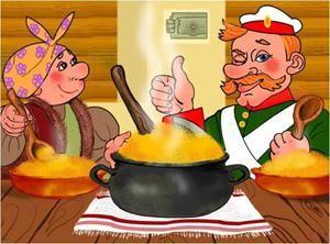 Русская народная сказка `Каша из топора`: анимационная версия и вариации сюжетных трактовок