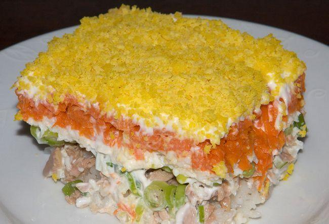 Mimoza salata s maslinovim receptom