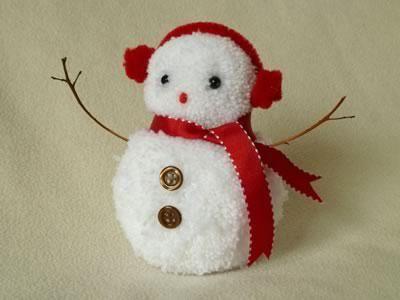 Снеговик из помпонов своими руками: мастер-класс по созданию