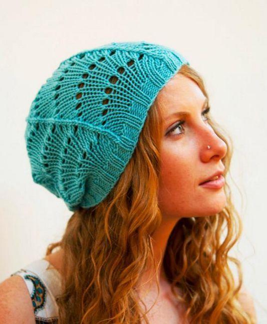 pleteni šeširi za žene s pletenim iglama