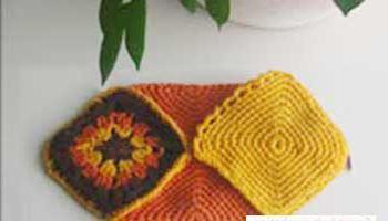 pletene papučice s kvadrata