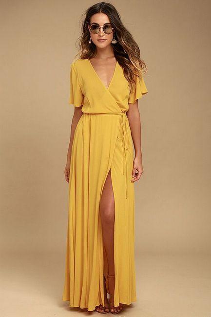 duga žuta haljina