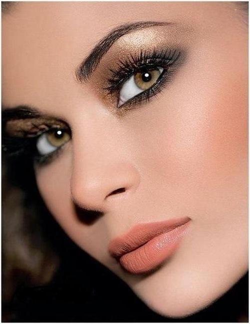 zlatni make-up za zelene oči
